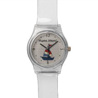 名前入りで航海のなヨットの青かタンの男の子 腕時計