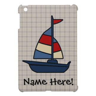 名前入りで航海のなヨットの青かタンの男の子 iPad MINIカバー