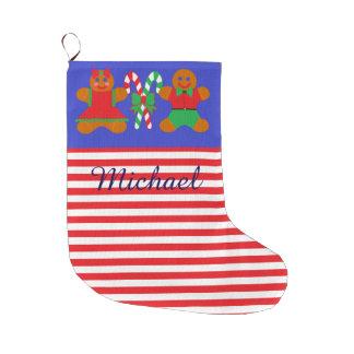 名前入りで赤いまたは白のストライプのクリスマスのストッキング ラージクリスマスストッキング