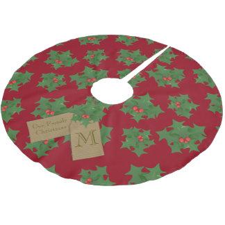 名前入りで赤いクリスマスツリーのスカート ブラッシュドポリエステルツリースカート