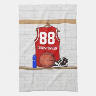 名前入りで赤いバスケットボールのjersey キッチンタオル