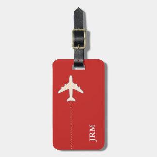 名前入りで赤い旅行飛行機 ラゲッジタグ