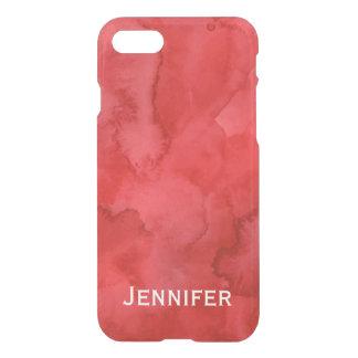 名前入りで赤い水彩画のiPhone 7の箱 iPhone 7ケース