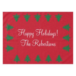 名前入りで赤い緑のクリスマスツリーのテーブルクロス テーブルクロス
