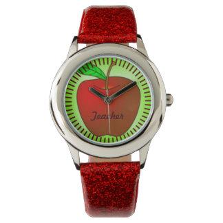名前入りで赤い緑のAppleの先生のグリッターの腕時計 腕時計