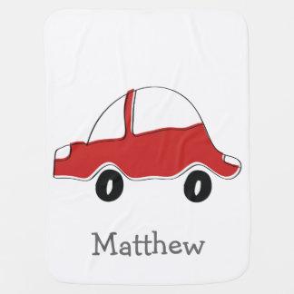 名前入りで赤い落書きのおもちゃ車 ベビー ブランケット