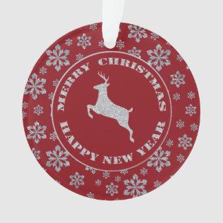 名前入りで赤い銀製の雪片のトナカイ オーナメント