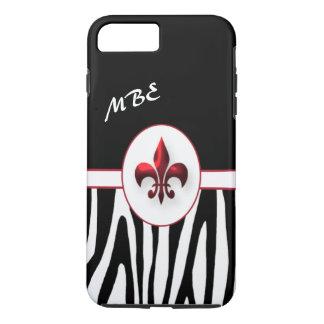 名前入りで赤い(紋章の)フラ・ダ・リのシマウマは縞で飾ります iPhone 8 PLUS/7 PLUSケース