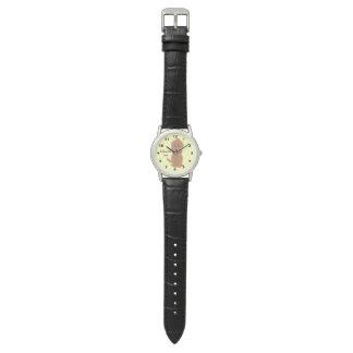 名前入りで赤いGoldendoodle犬のデザイン 腕時計