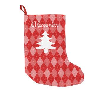 名前入りで赤くアーガイル柄のなパターンクリスマスのストッキング スモールクリスマスストッキング