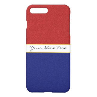 名前入りで赤く、白いおよび青い縞 iPhone 8 PLUS/7 PLUSケース