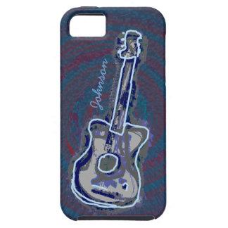 名前入りで青いアコースティックギター iPhone SE/5/5s ケース