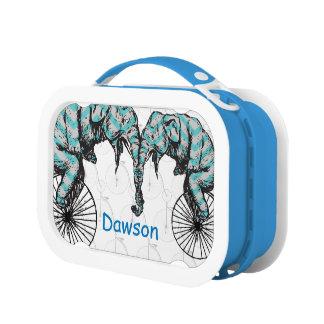 名前入りで青いサーカス象の自転車 ランチボックス