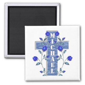 名前入りで青い十字の磁石 マグネット
