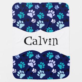 名前入りで青い足のプリント犬の木枠毛布 ベビー ブランケット