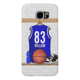 名前入りで青および白いバスケットボールジャージー SAMSUNG GALAXY S6 ケース
