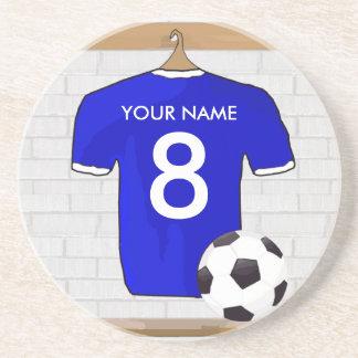 名前入りで青く白いフットボールのサッカージャージー コースター