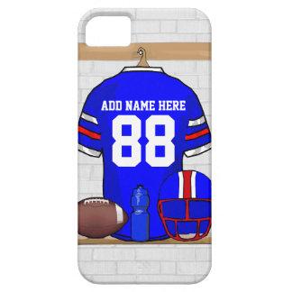名前入りで青く白く赤いフットボールジャージー iPhone SE/5/5s ケース
