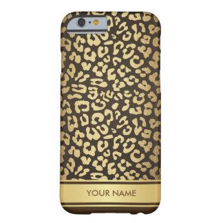 名前入りで魅力的なヒョウの皮チョコレート金ゴールド BARELY THERE iPhone 6 ケース