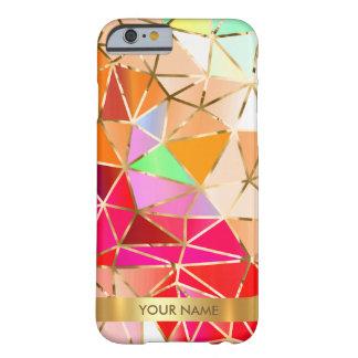 名前入りで魅力的なピンクの虹のダイヤモンドVipの金ゴールド Barely There iPhone 6 ケース