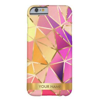 名前入りで魅力的な紫色のピンクのダイヤモンドVipの金ゴールド Barely There iPhone 6 ケース