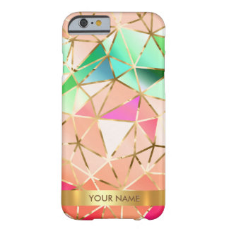 名前入りで魅力的な虹のダイヤモンドVipの金ゴールド Barely There iPhone 6 ケース