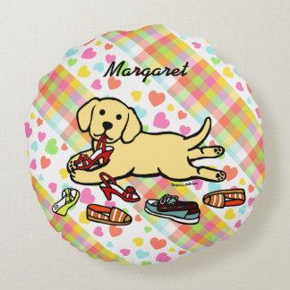 名前入りで黄色いラブラドールの子犬の漫画 ラウンドクッション