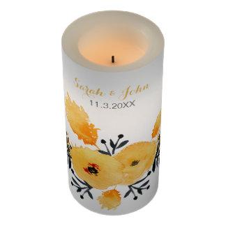 名前入りで黄色い灰色の水彩画の花柄の蝋燭 LEDキャンドル
