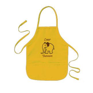 名前入りで黄色くかわいい漫画のベビー象 子供用エプロン