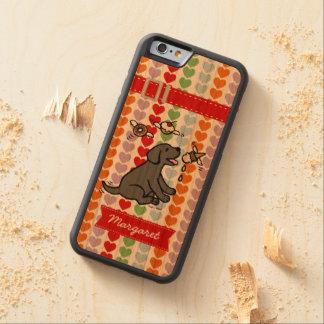 名前入りで黒いラブラドールのアイスクリームの夢 CarvedチェリーiPhone 6バンパーケース