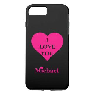 名前入りで黒い及びピンクのハートI愛 iPhone 8 PLUS/7 PLUSケース