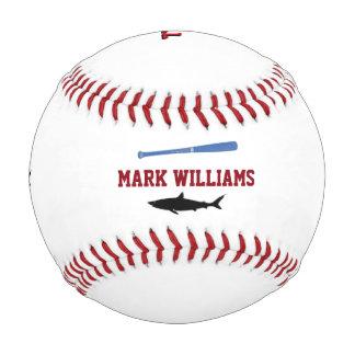 名前入りで黒い鮫 野球ボール