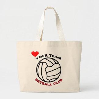 名前入りなあなたのネットボールのチーム球のロゴのデザイン ラージトートバッグ