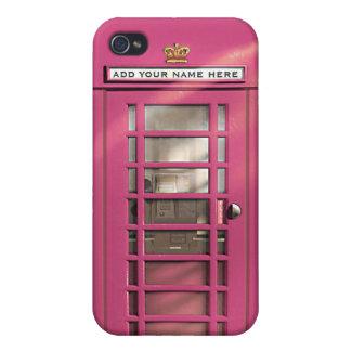 名前入りなおもしろいでガーリーなピンクのイギリスの電話箱 iPhone 4 ケース