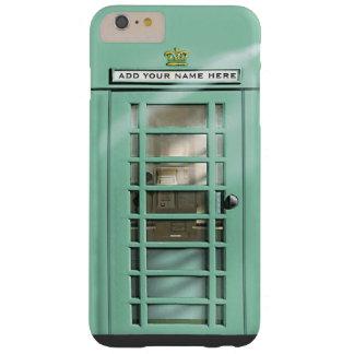 名前入りなおもしろいで真新しい緑のイギリスの電話箱 BARELY THERE iPhone 6 PLUS ケース