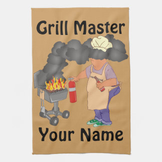 名前入りなおもしろいなグリルのマスター キッチンタオル