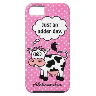 名前入りなおもしろいな漫画牛ピンクの水玉模様 iPhone 5 ケース