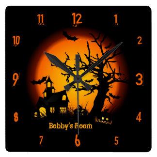 名前入りなお化け屋敷のハロウィンの柱時計 スクエア壁時計