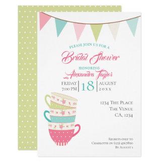 名前入りなお茶会の花嫁のウェディングシャワー カード