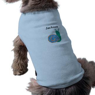 名前入りなかたつむりの小犬の骨があるタンクトップ ペット服