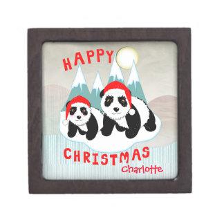 名前入りなかわいいのパンダの雪場面クリスマス ギフトボックス