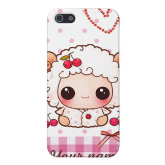名前入りなかわいいのベビーのヒツジおよびかわいいさくらんぼ- iPhone 5 CASE