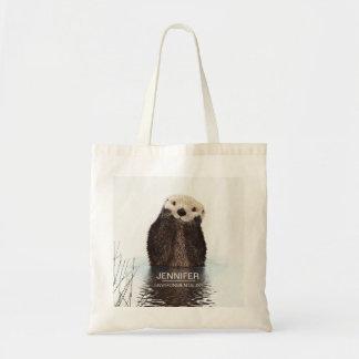 名前入りなかわいいカワウソの野性生物のイメージ トートバッグ