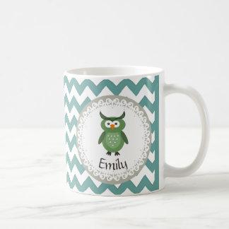 名前入りなかわいいトレンディーの空想のガーリーなフクロウ コーヒーマグカップ