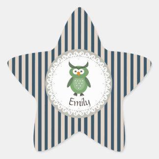 名前入りなかわいいトレンディーの空想のガーリーなフクロウ 星シール