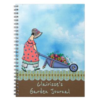 名前入りなかわいいレトロの女の子の庭師- ノートブック