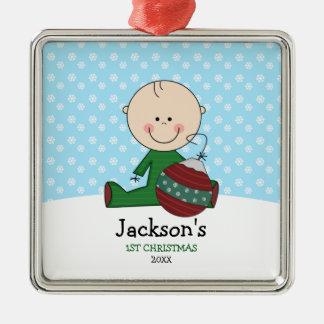 名前入りなかわいい男の赤ちゃんの第1クリスマス メタルオーナメント