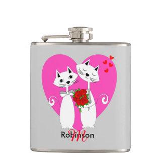 名前入りなかわいくロマンチックな猫のバレンタインのテーマ フラスク