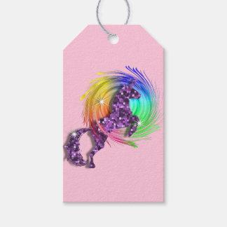 名前入りなかわいらしいファンタジーの虹のユニコーン ギフトタグ