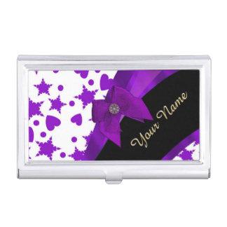 名前入りなかわいらしい紫色のむらがあるガーリーなパターン 名刺入れ
